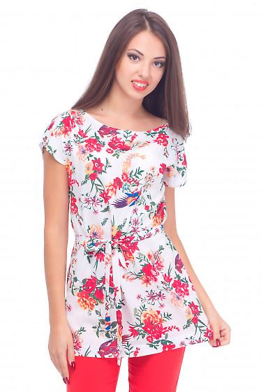 Туника белая в красные цветы Деловая женская одежда