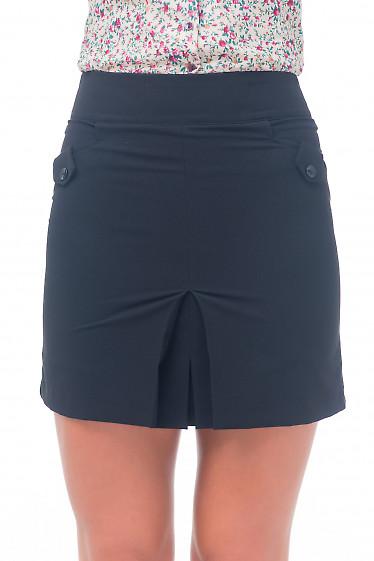 Юбка-трапеция черная короткая Деловая женская одежда