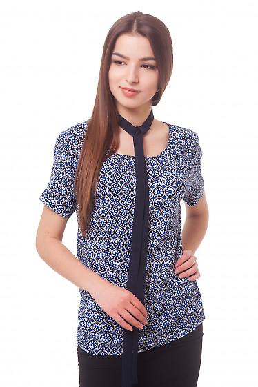 Блузка с защипами в синие ромашки Деловая женская одежда