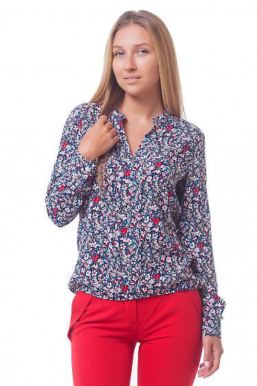 Блузка в цветочек с резинкой по бокам Деловая женская одежда