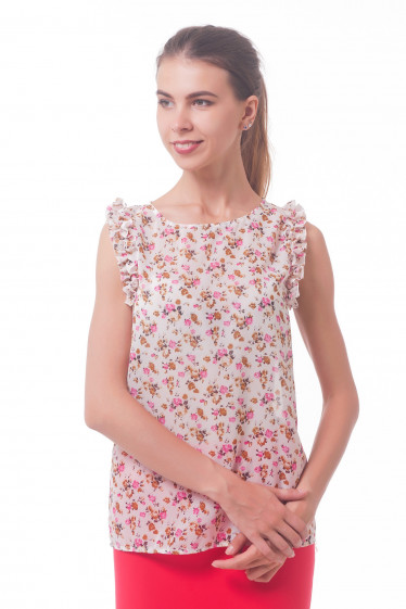 Блузка в розовые цветы с рюшем  Деловая женская одежда