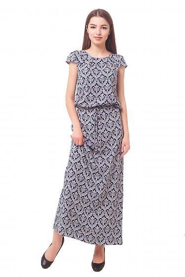 Длинное платье в синий узор Деловая женская одежда