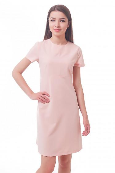 Платье бледно-розовое с коротким рукавом Деловая женская одежда