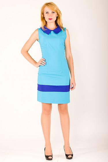 Фото Платье голубое с синим воротником Деловая женская одежда