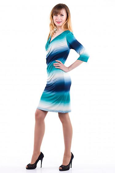 Фото Платье с качелькой бирюзовое Деловая женская одежда
