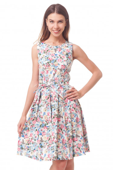 Платье с пышной юбкой в разноцветный цветочек Деловая женская одежда
