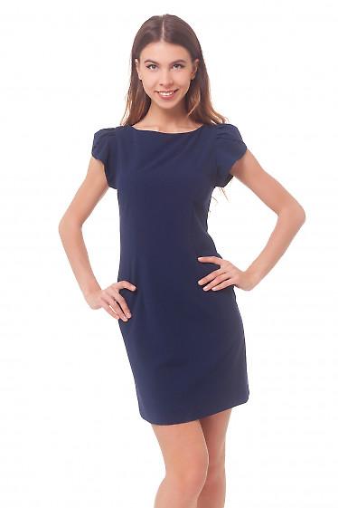 Платье темно-синее с рукавом фонариком Деловая женская одежда