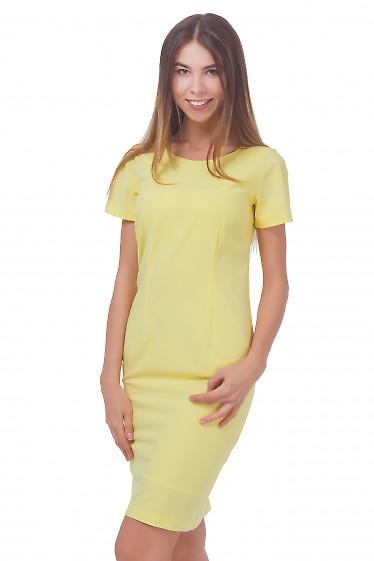 Платье желтое с коротким рукавом Деловая женская одежда