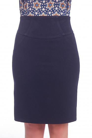 Юбка синяя теплая с рельефами Деловая женская одежда