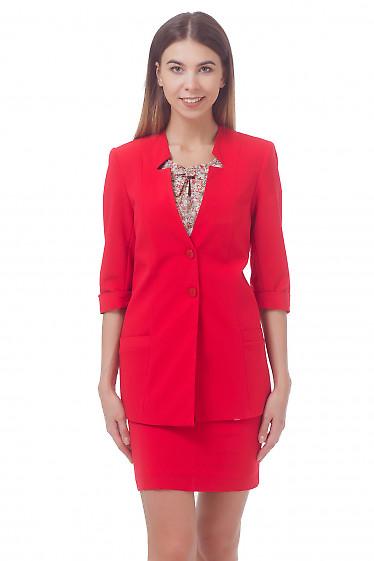 Жакет красный удлиненный с коротким рукавом Деловая женская одежда