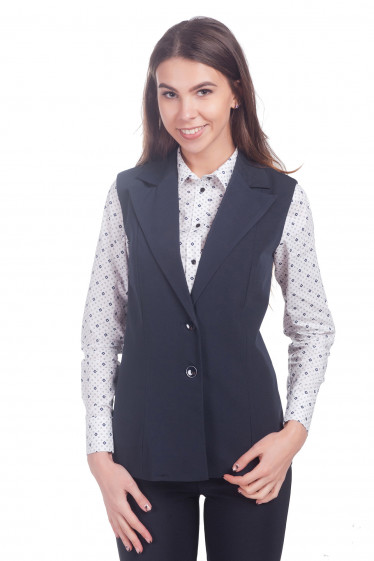 Фото Жилетка удлиненная синяя с воротником Деловая женская одежда