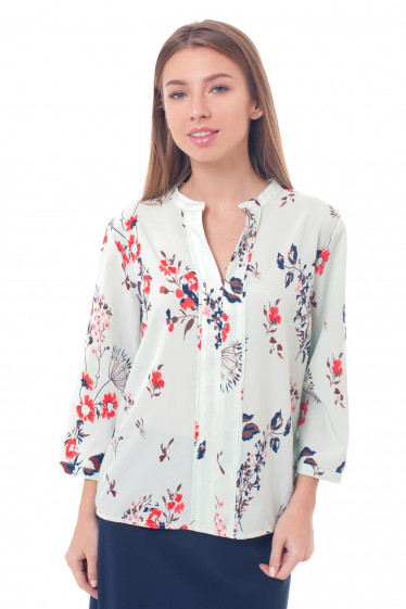 Бирюзовая блузка в коричневые веточки Деловая женская одежда фото