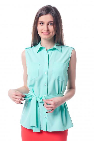 Блузка бирюзовая с карманами и поясом Деловая женская одежда фото