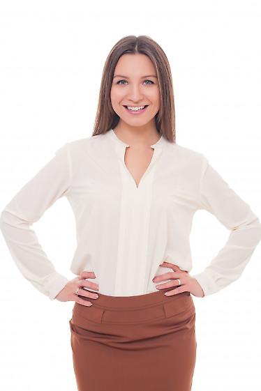 Блузка молочная с резинками с боку Деловая женская одежда фото