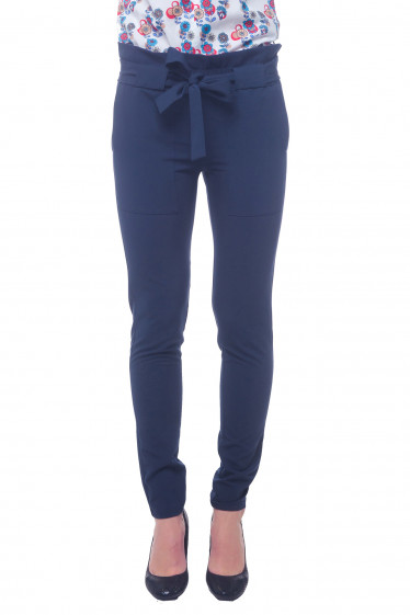 Брюки синие с резинкой и накладными карманами Деловая женская одежда