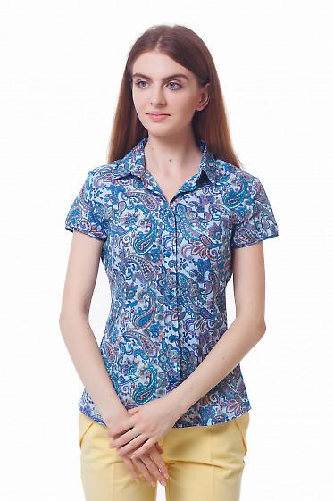Голубая блузка в синие огурцы. Деловая женская одежда