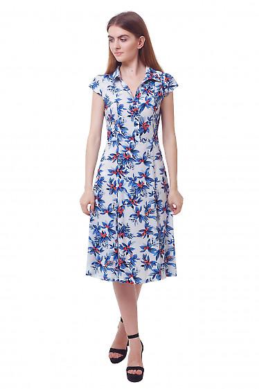 Платье белое в голубые цветы. Деловая женская одежда