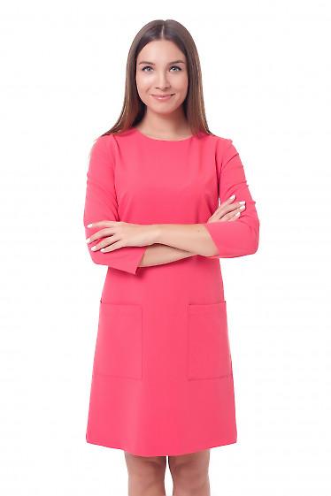 Платье розовое с накладными карманами Деловая женская одежда фото