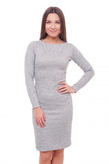 Платье серое с люрексом Деловая женская одежда фото
