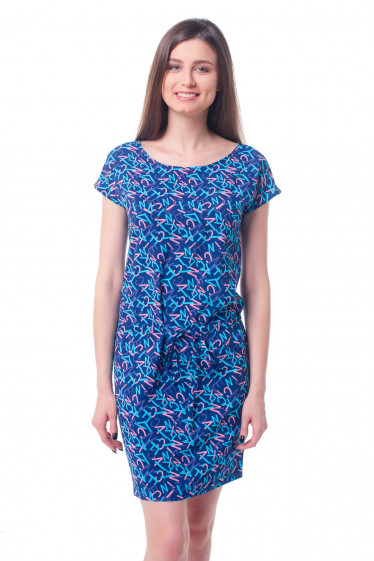 Платье синее в буквы Деловая женская одежда фото