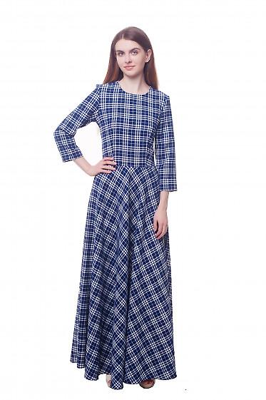 Платье в пол синее в белую клетку Деловая женская одежда фото
