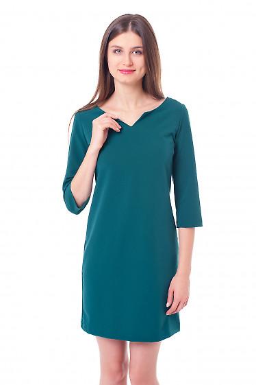 Платье зеленое с V-вырезом Деловая женская одежда фото
