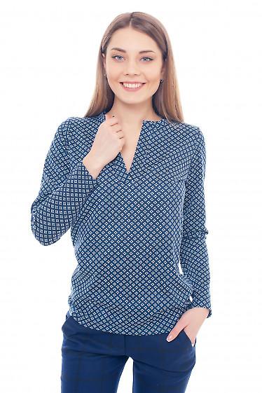 Туника трикотажная в синюю ромашку Деловая женская одежда фото