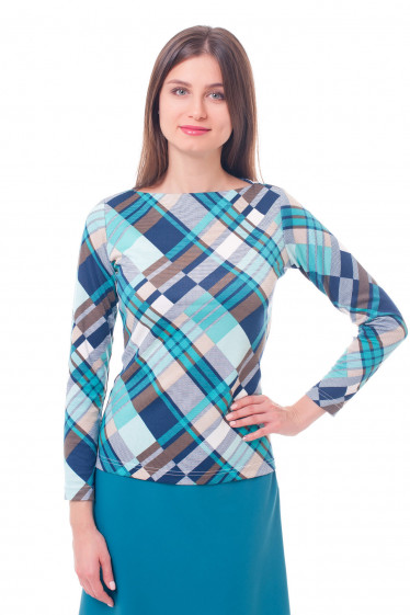 Туника в бирюзово-синюю клетку Деловая женская одежда фото