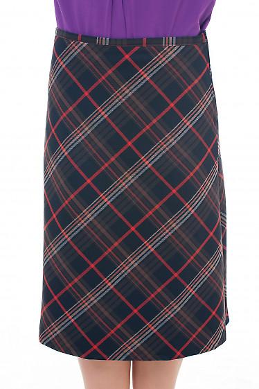 Юбка-трапеция коричневая с красной полосой Деловая женская одежда фото