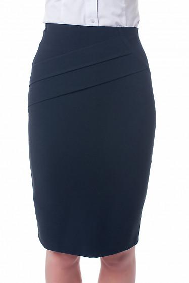 Юбка черная с горизонтальными складками Деловая женская одежда фото
