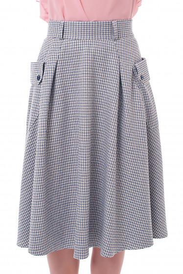 Юбка теплая в клетку с боковыми карманами Деловая женская одежда фото
