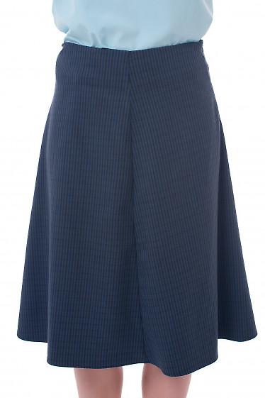 Юбка трапеция в мелкую синюю клетку Деловая женская одежда фото