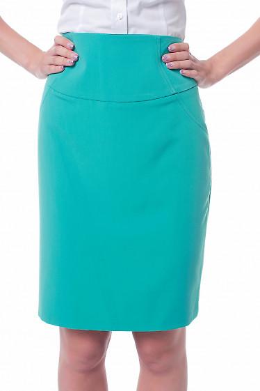 Юбка зеленая с высокой талией Деловая женская одежда фото