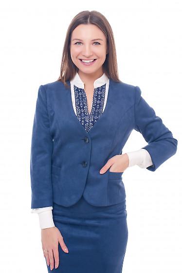 Жакет теплый из синего замша Деловая женская одежда фото