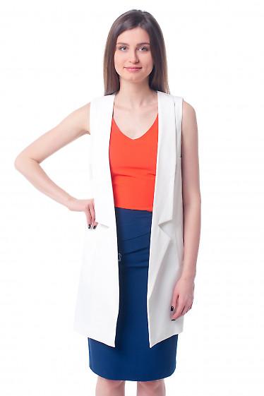 Жилет белый женский удлиненный Деловая женская одежда фото