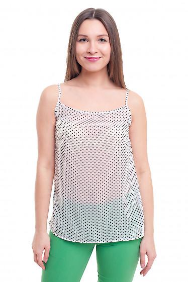 Белый топ в горошек на тонких бретелях Деловая женская одежда фото