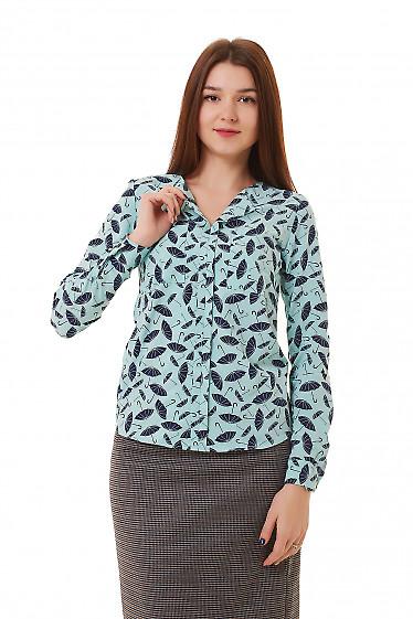 Блузка бирюзовая в синие зонтики Деловая женская одежда фото