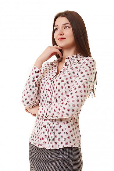 Блузка розовая в коралловые круги Деловая женская одежда фото