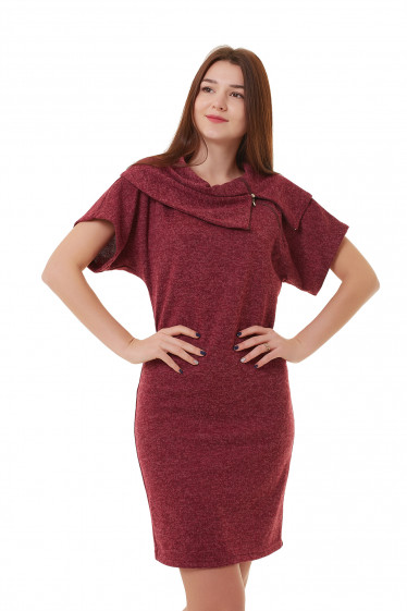 Бордовое платье с молнией на воротнике Деловая женская одежда фото