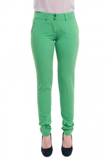 Брюки зеленые зауженные с вставкой на кармане Деловая женская одежда фото