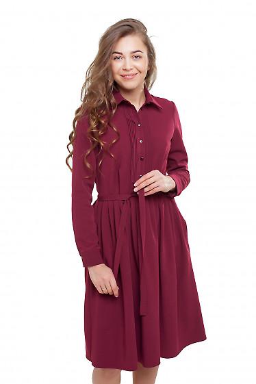 Платье пышное бордовое под пояс Деловая женская одежда фото