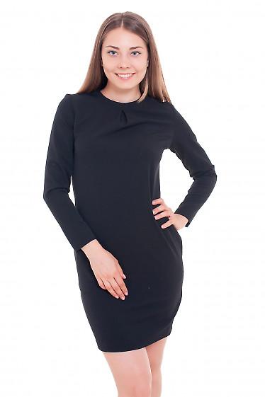 Платье с защипом по горловине черное Деловая женская одежда фото