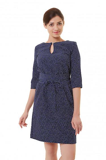 Платье синее в буквы на резинке Деловая женская одежда фото