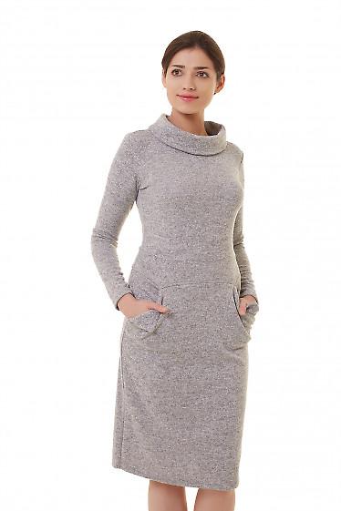 Платье трикотажное серое с воротом Деловая женская одежда фото
