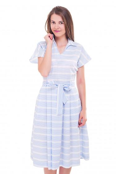 Платье в голубую полоску с белыми вставками Деловая женская одежда фото