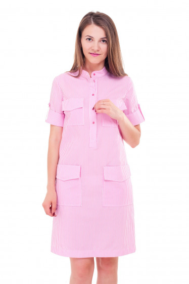 Платье в розовую полоску с карманами Деловая женская одежда фото
