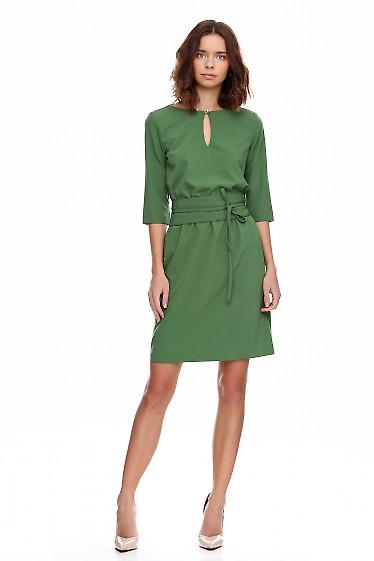 Платье зеленое на резинке Деловая женская одежда фото