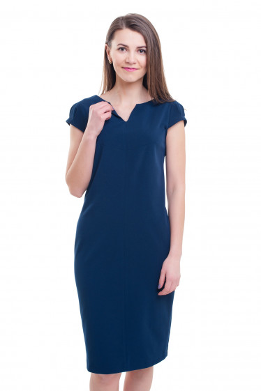 Синее платье с разрезом на горловине Деловая женская одежда фото