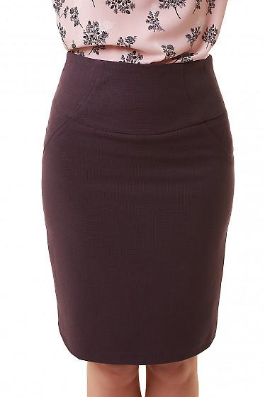 Юбка бордовая в черную лапку Деловая женская одежда фото
