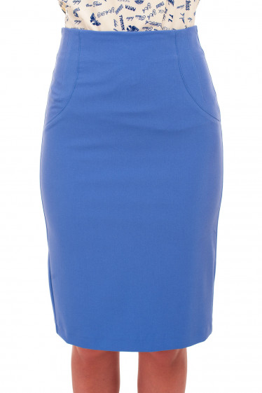 Юбка карандаш голубая без пояса Деловая женская одежда фото